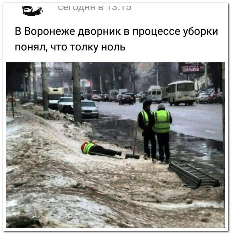 В Воронеже в процессе уборки дворник понял, что толку ноль